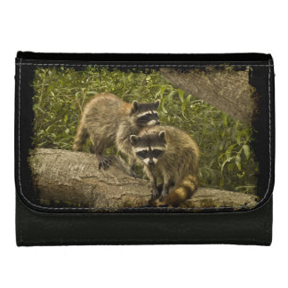 Raccoons in Grunge Leather Wallet For Women