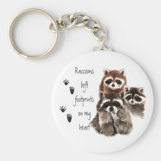 Raccoons left footprints on my Heart Cute animal Keychain