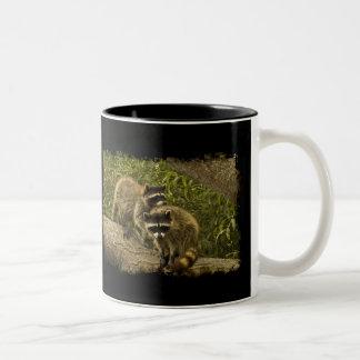 Raccoons on Black Coffee Mugs