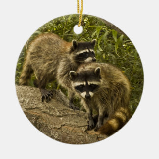 Raccoons! Double-Sided Ceramic Round Christmas Ornament