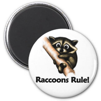 Raccoons Rule! 2 Inch Round Magnet