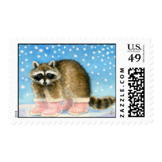 Raccoon's Snow Day stamps