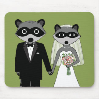 Raccoons Wedding Bride and Groom Mouse Pad