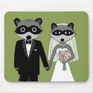 Raccoons Wedding Bride and Groom Mousepads