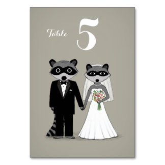 Raccoons Wedding Bride and Groom Table Card