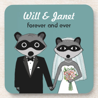 Raccoons Wedding Bride and Groom with Custom Text Drink Coaster