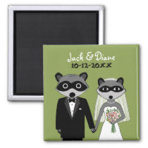 Raccoons Wedding Bride and Groom with Custom Text Magnet