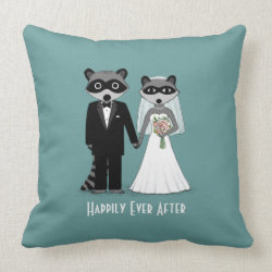 Raccoons Wedding Bride and Groom with Custom Text mojo_throwpillow