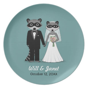 Raccoons Wedding - Bride and Groom with Text Dinner Plate  sc 1 st  Zazzle & Funny Raccoon Plates   Zazzle