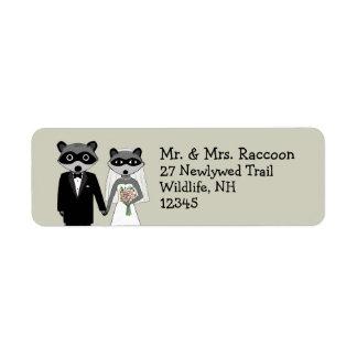 Raccoons Wedding Couple - Cute Bride and Groom Label