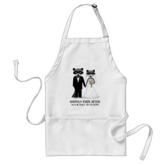Raccoons Wedding Couple with Custom Text Adult Apron