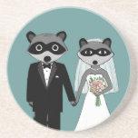 Raccoons Wedding - Cute Bride and Groom Drink Coaster