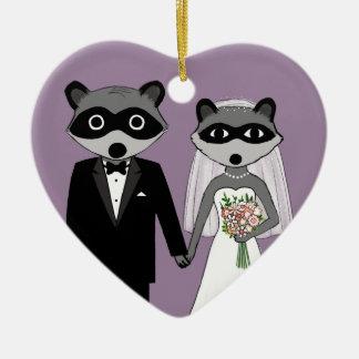 Raccoons Wedding Keepsake Ceramic Ornament