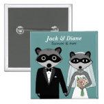 Raccoons Wedding Pinback Button