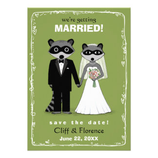 Raccoons Wedding Save the Date Green Invite