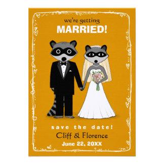 Raccoons Wedding Save the Date Orange Invitations