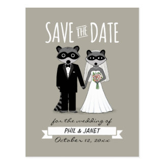 Raccoons Wedding Save the Date Postcard