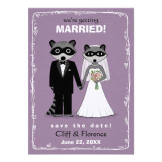 Raccoons Wedding Save the Date Purple Invitations