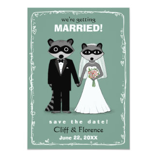 Raccoons Wedding Save the Date Teal Card