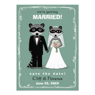 Raccoons Wedding Save the Date Teal Custom Announcement