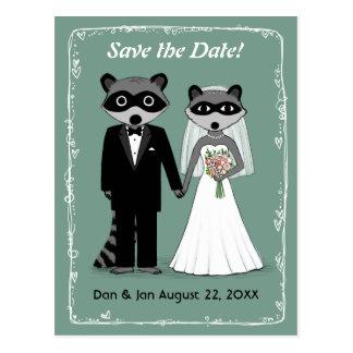 Raccoons Wedding Save the Date Teal Postcard