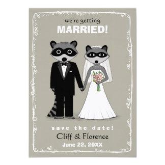Raccoons Wedding Save the Date (Warm Grey) Card