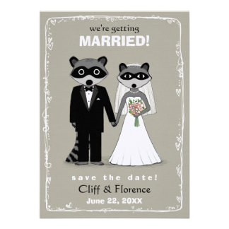 Raccoons Wedding Save the Date Warm Grey Invitation