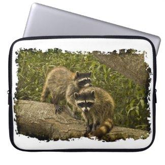 Raccoons White Edge Laptop Computer Sleeve