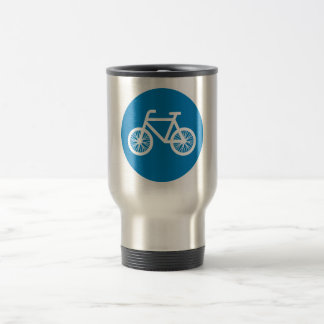 Race a bicycle travel mug