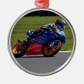 Race Bike Round Metal Christmas Ornament