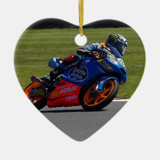 Race Bike Double-Sided Heart Ceramic Christmas Ornament