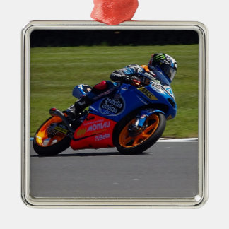 Race Bike Square Metal Christmas Ornament