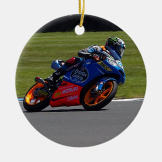 Race Bike Double-Sided Ceramic Round Christmas Ornament