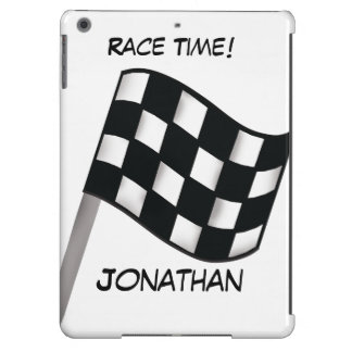 Race Black White Checkered Flag Name Personalized iPad Air Cases