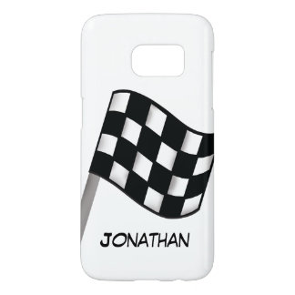 Race Black White Checkered Flag Name Personalized Samsung Galaxy S7 Case