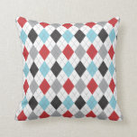 Race Blue Red Argyle Two Pattern Reversible Pillow