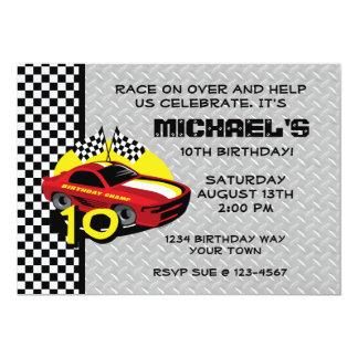 Race Car 10th Birthday Card