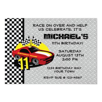 Race Car 11th Birthday Party Invitation