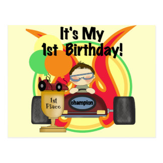 Race Car 1st Birthday Tshirts and Gifts Post Cards