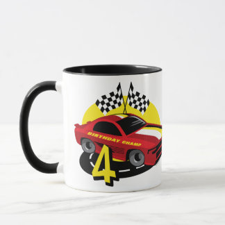 Race Car 4th Birthday Mug