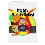 Race Car 4th Birthday Tshirts and Gifts Card