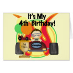 Race Car 4th Birthday Tshirts and Gifts Cards