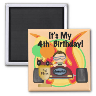 Race Car 4th Birthday Tshirts and Gifts Magnet