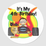 Race Car 4th Birthday Tshirts and Gifts Stickers