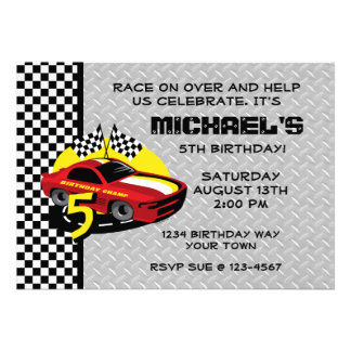 Race Car 5th Birthday Party Invitation