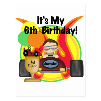 Race Car 6th Birthday Tshirts and Gifts Postcard