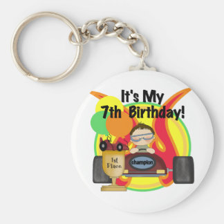 Race Car 7th Birthday Tshirts and Gifts Basic Round Button Keychain