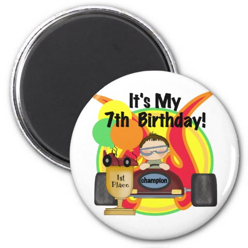Race Car 7th Birthday Tshirts and Gifts Magnet