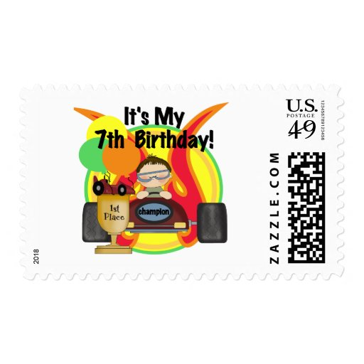 Race Car 7th Birthday Tshirts and Gifts Postage Stamp