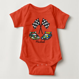 Race Car and Checkered Flags Baby Bodysuit